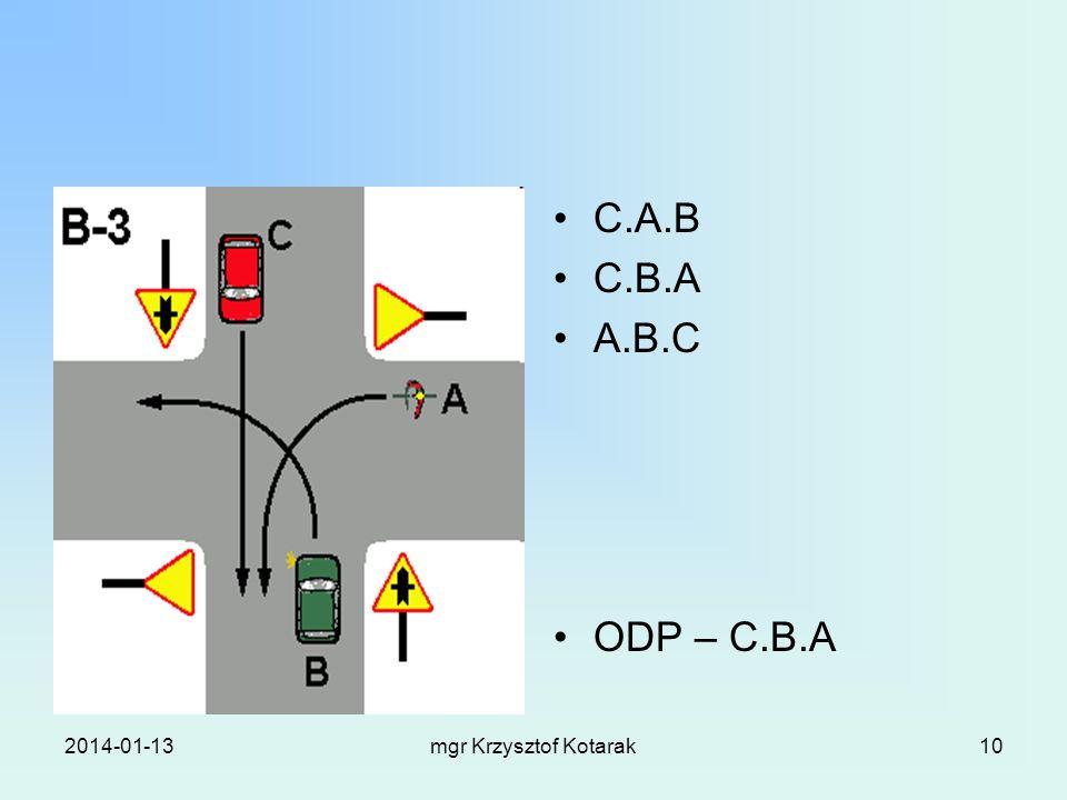 2014-01-13mgr Krzysztof Kotarak10 C.A.B C.B.A A.B.C ODP – C.B.A