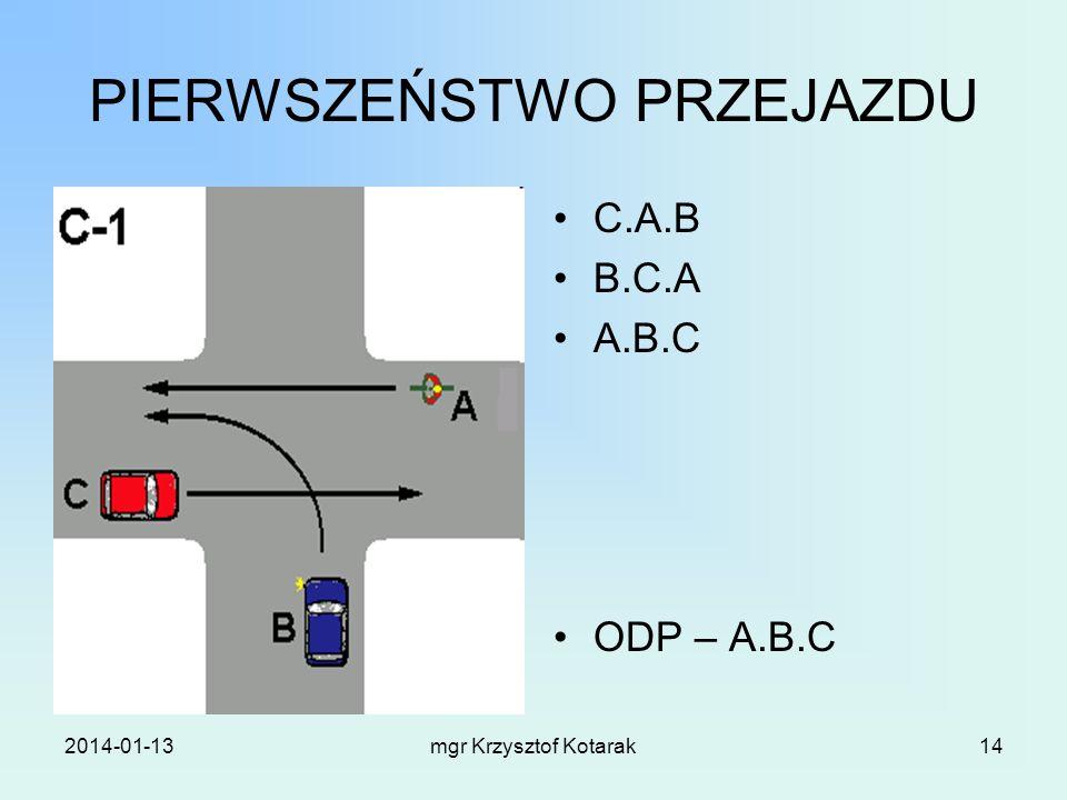 2014-01-13mgr Krzysztof Kotarak14 PIERWSZEŃSTWO PRZEJAZDU C.A.B B.C.A A.B.C ODP – A.B.C