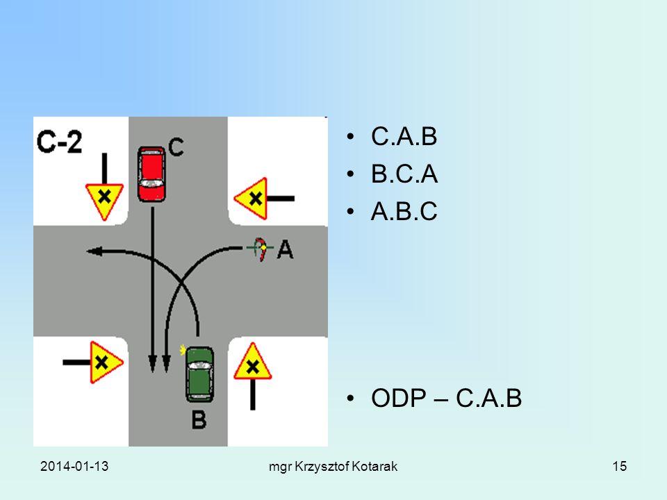 2014-01-13mgr Krzysztof Kotarak15 C.A.B B.C.A A.B.C ODP – C.A.B