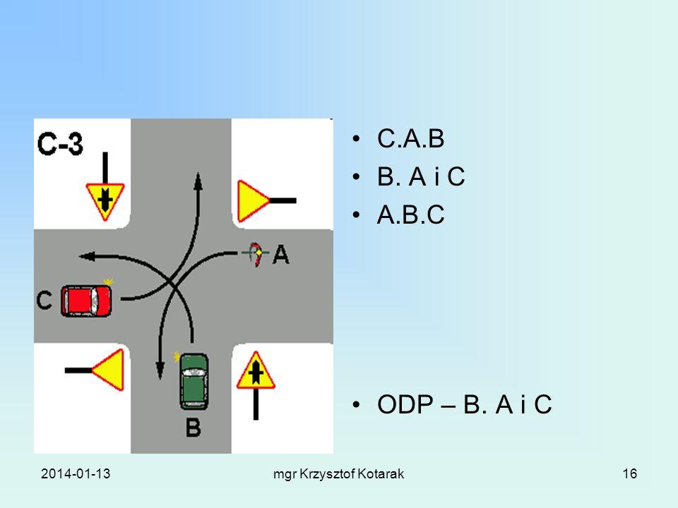 2014-01-13mgr Krzysztof Kotarak16 C.A.B B. A i C A.B.C ODP – B. A i C