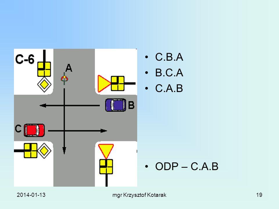 2014-01-13mgr Krzysztof Kotarak19 C.B.A B.C.A C.A.B ODP – C.A.B