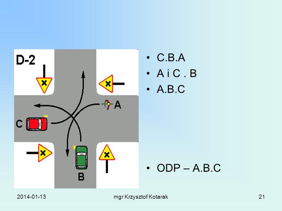 2014-01-13mgr Krzysztof Kotarak21 C.B.A A i C. B A.B.C ODP – A.B.C