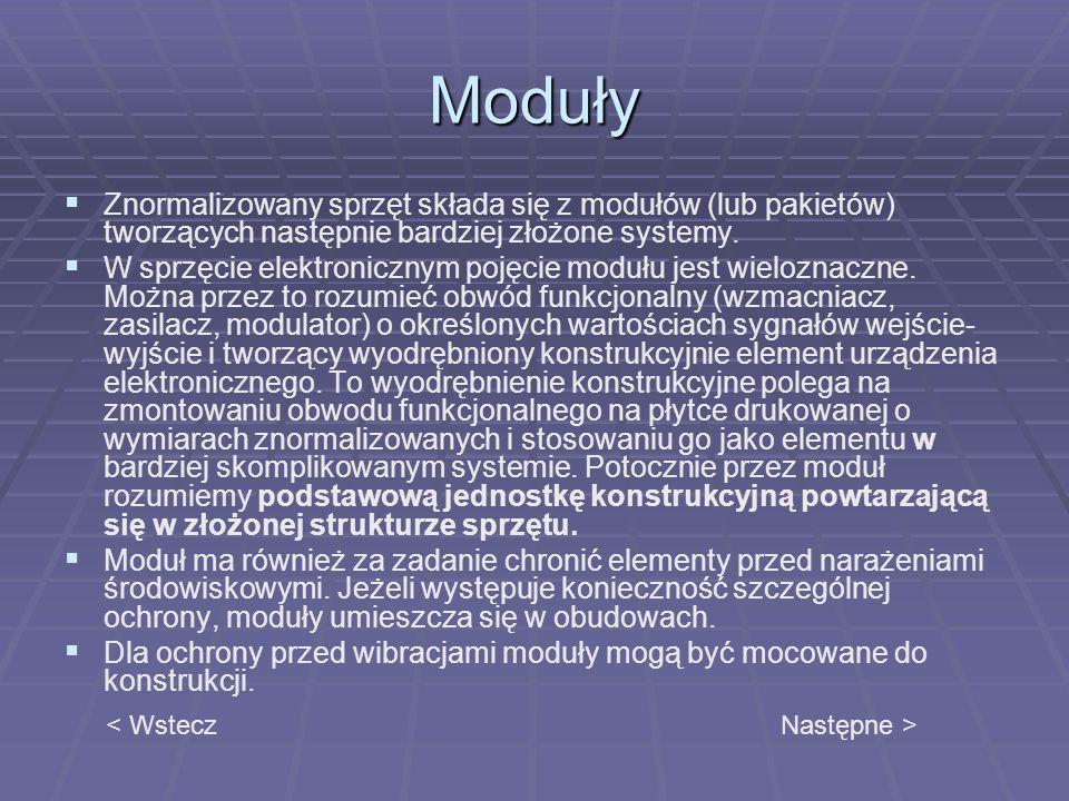 Moduły Znormalizowany sprzęt składa się z modułów (lub pakietów) tworzących następnie bardziej złożone systemy. W sprzęcie elektronicznym pojęcie modu