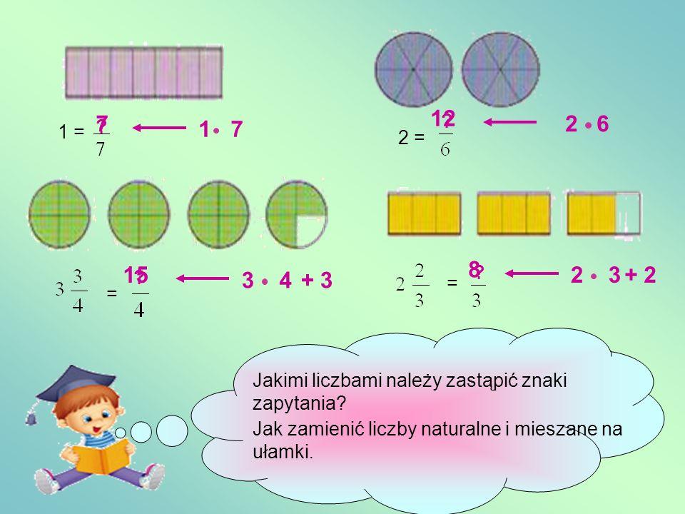 = = == 2 Liczby mieszane to inaczej zapisane ułamki niewłaściwe.