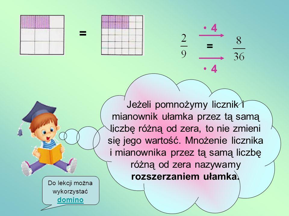 Równość ułamków = Pół pizzy to tyle samo co dwie ćwiartki pizzy.Zatem i chociaż zapisane w różny sposób przedstawiają tą samą liczbę. = = = == 1 2 2 4