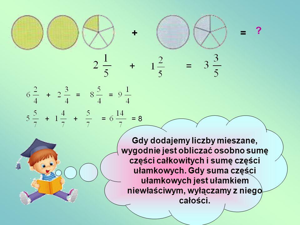 Dodawanie ułamków zwykłych += += += += = 1 +=+= Gdy obliczamy sumę dwóch ułamków o jednakowych mianownikach, dodajemy ich liczniki, a mianowniki pozos