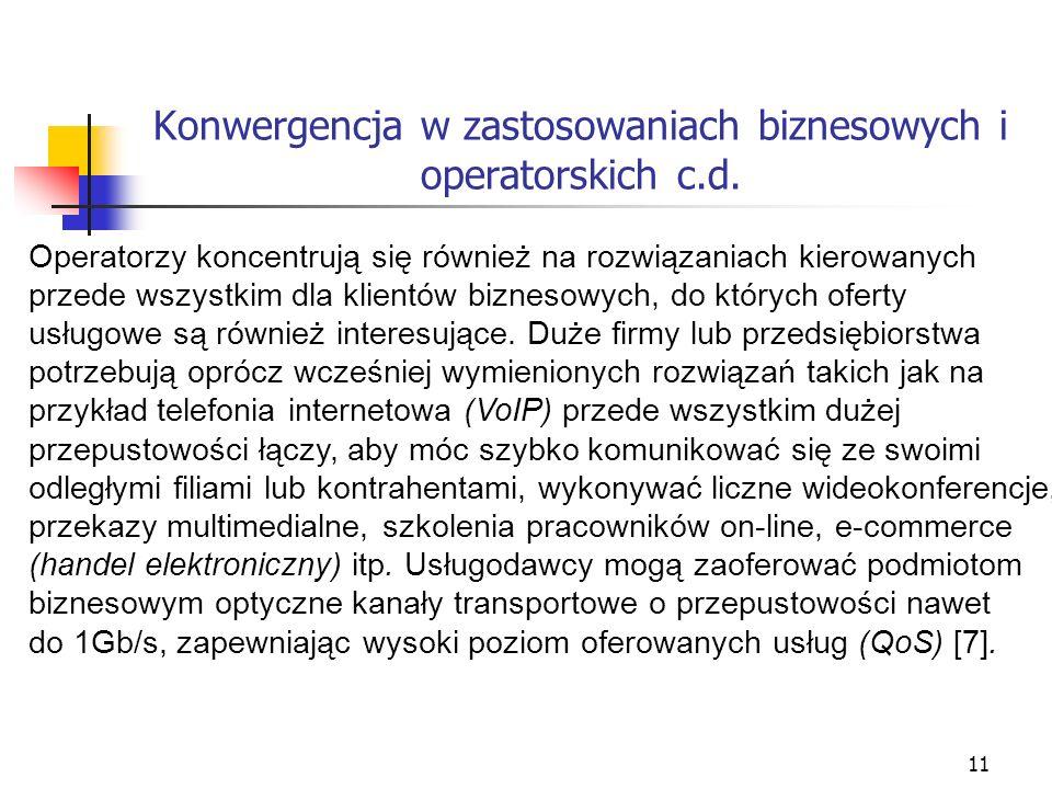 12 Konwergencja w zastosowaniach biznesowych i operatorskich c.d.
