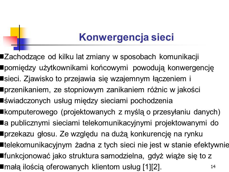 15 Konwergencja sieci c.d.Tworzone sieci konwergentne nazywane NGN (ang.