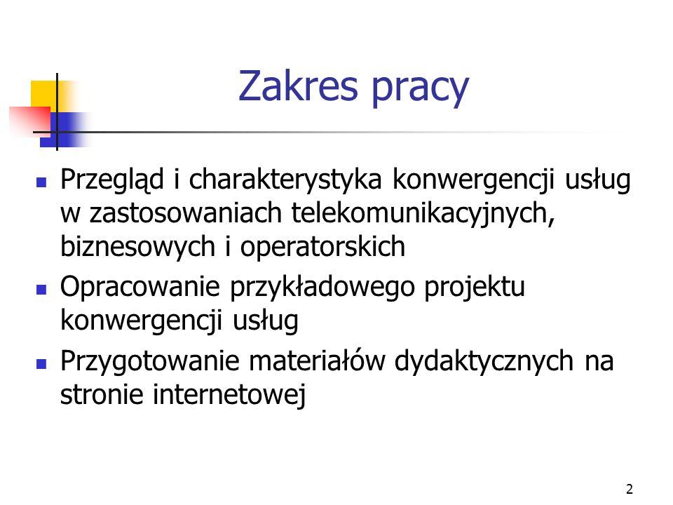 2 Zakres pracy Przegląd i charakterystyka konwergencji usług w zastosowaniach telekomunikacyjnych, biznesowych i operatorskich Opracowanie przykładowe