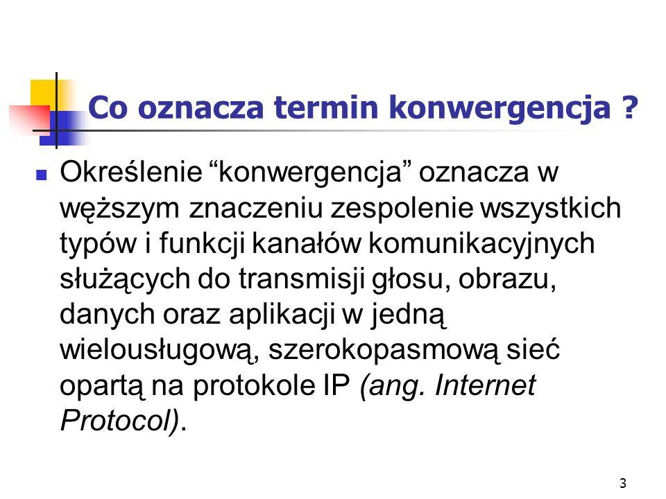 3 Co oznacza termin konwergencja ? Określenie konwergencja oznacza w węższym znaczeniu zespolenie wszystkich typów i funkcji kanałów komunikacyjnych s