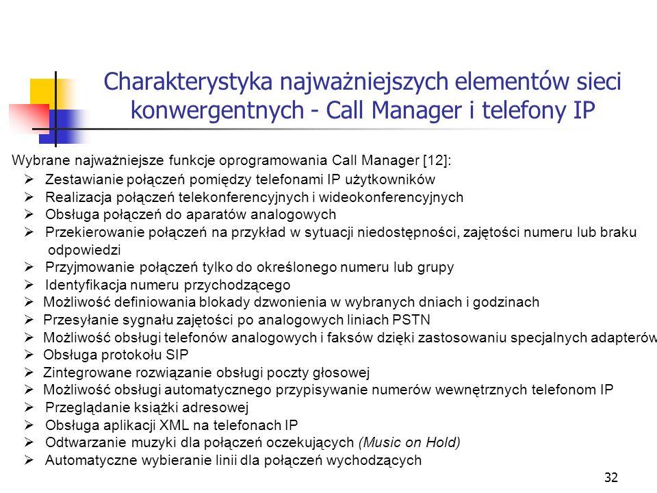 32 Charakterystyka najważniejszych elementów sieci konwergentnych - Call Manager i telefony IP Wybrane najważniejsze funkcje oprogramowania Call Manag
