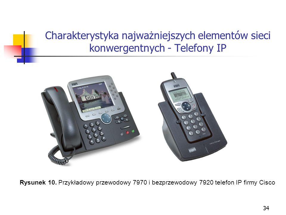 34 Charakterystyka najważniejszych elementów sieci konwergentnych - Telefony IP Rysunek 10. Przykładowy przewodowy 7970 i bezprzewodowy 7920 telefon I