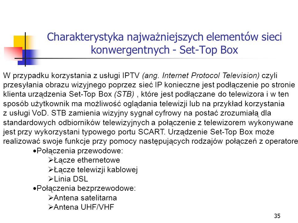35 Charakterystyka najważniejszych elementów sieci konwergentnych - Set-Top Box W przypadku korzystania z usługi IPTV (ang. Internet Protocol Televisi