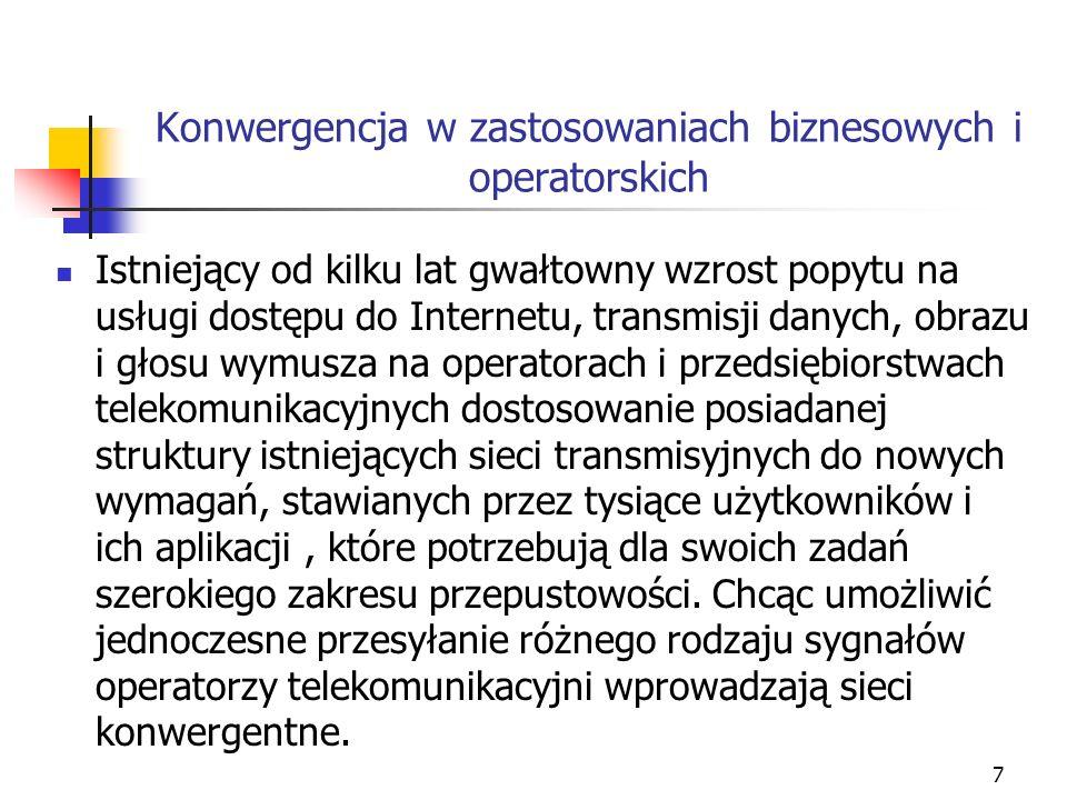 8 Konwergencja w zastosowaniach biznesowych i operatorskich c.d.