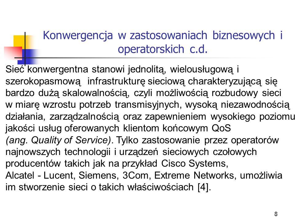 8 Konwergencja w zastosowaniach biznesowych i operatorskich c.d. Sieć konwergentna stanowi jednolitą, wielousługową i szerokopasmową infrastrukturę si