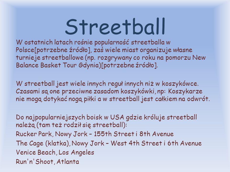 Streetball Streetball (ang. street – ulica, ball – piłka) – koszykówka uliczna. Streetball jest odmianą koszykówki, w którą gra się najczęściej na asf