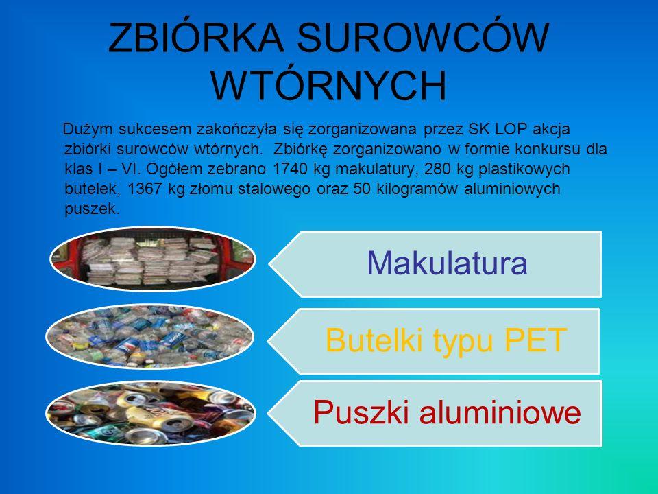 ZBIÓRKA SUROWCÓW WTÓRNYCH Dużym sukcesem zakończyła się zorganizowana przez SK LOP akcja zbiórki surowców wtórnych. Zbiórkę zorganizowano w formie kon