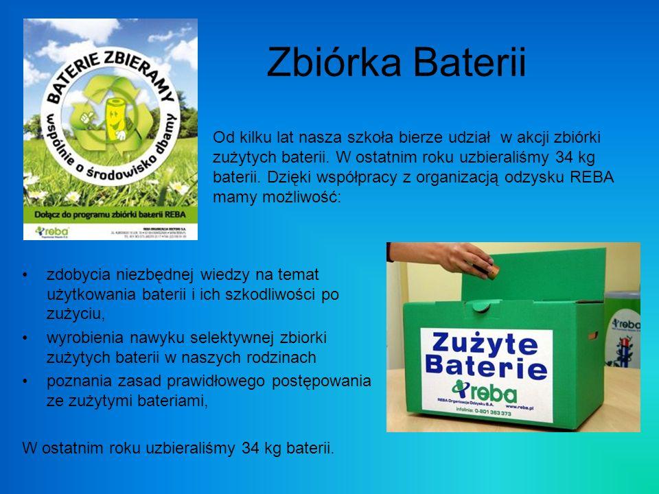 Zbiórka Baterii zdobycia niezbędnej wiedzy na temat użytkowania baterii i ich szkodliwości po zużyciu, wyrobienia nawyku selektywnej zbiorki zużytych