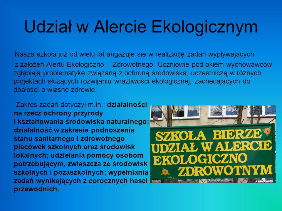 Udział w Alercie Ekologicznym Nasza szkoła już od wielu lat angażuje się w realizację zadań wypływających z założeń Alertu Ekologiczno – Zdrowotnego.