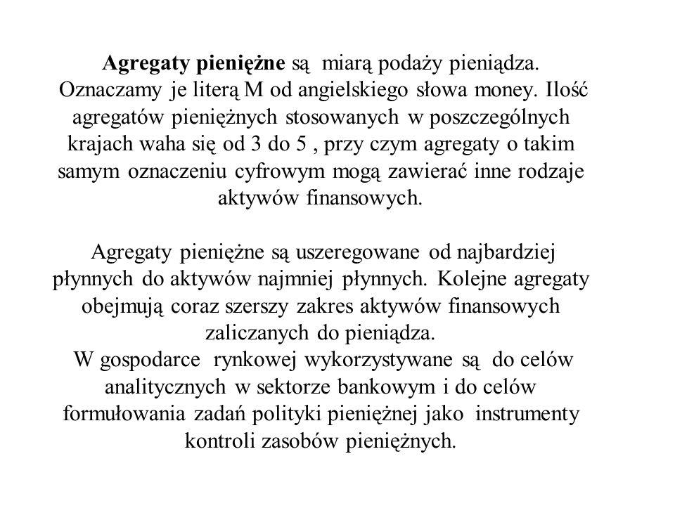 Agregaty pieniężne są miarą podaży pieniądza. Oznaczamy je literą M od angielskiego słowa money. Ilość agregatów pieniężnych stosowanych w poszczególn