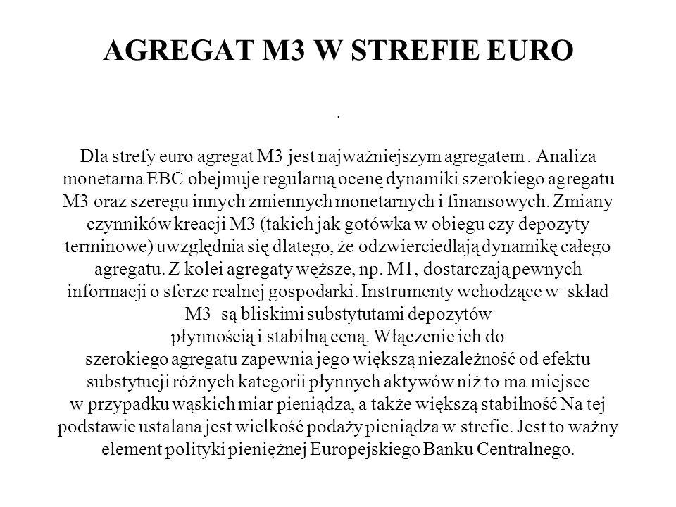 AGREGAT M3 W STREFIE EURO. Dla strefy euro agregat M3 jest najważniejszym agregatem. Analiza monetarna EBC obejmuje regularną ocenę dynamiki szerokieg
