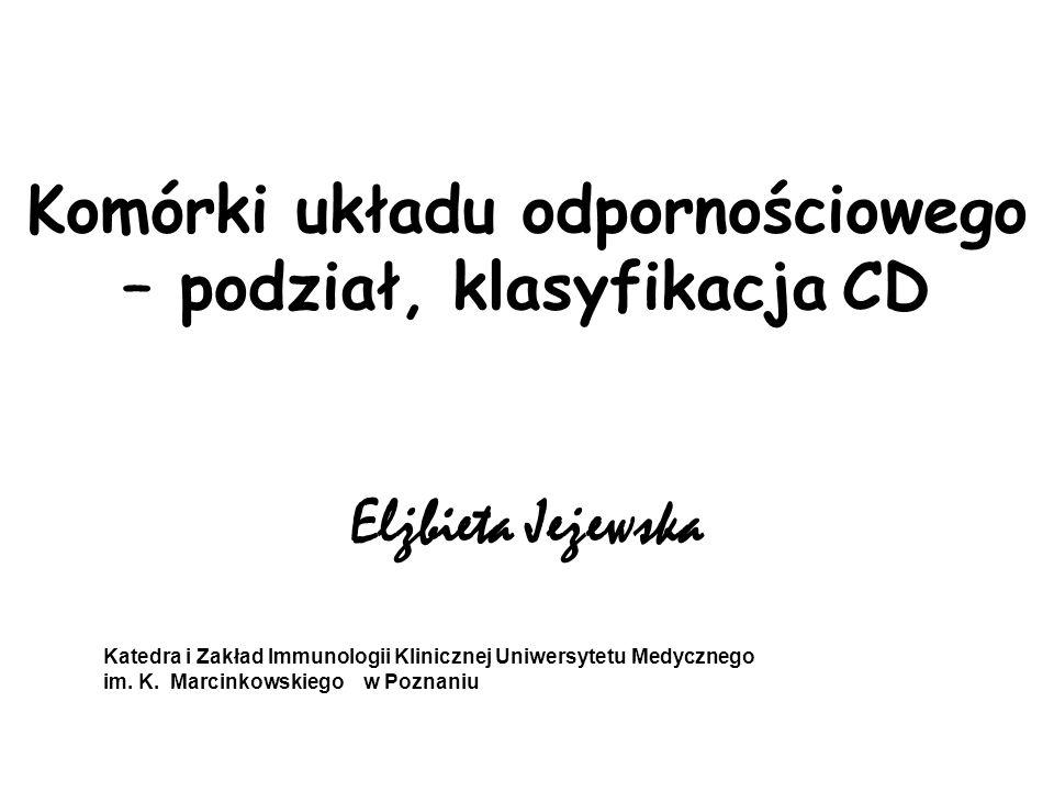 Komórki układu odpornościowego – podział, klasyfikacja CD Elżbieta Jeżewska Katedra i Zakład Immunologii Klinicznej Uniwersytetu Medycznego im. K. Mar