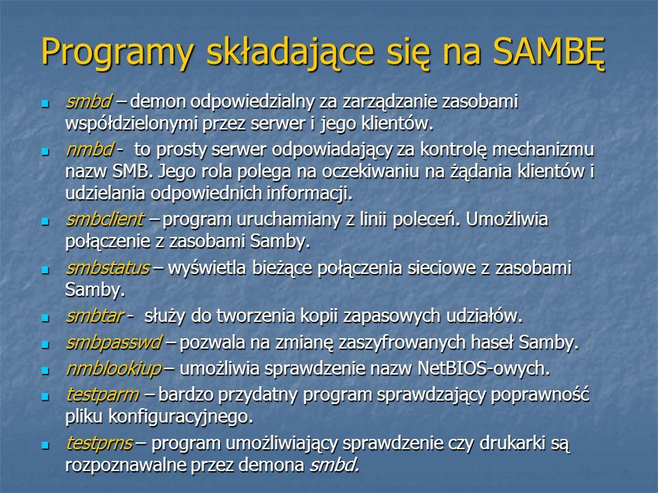CEL PRACY Nabycie umiejętności konfigurowania pakietu SAMBA z wykorzystaniem konsoli oraz narzędzi graficznych.