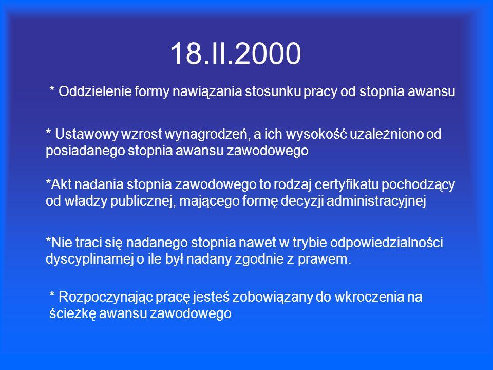18.II.2000 * Oddzielenie formy nawiązania stosunku pracy od stopnia awansu * Ustawowy wzrost wynagrodzeń, a ich wysokość uzależniono od posiadanego st