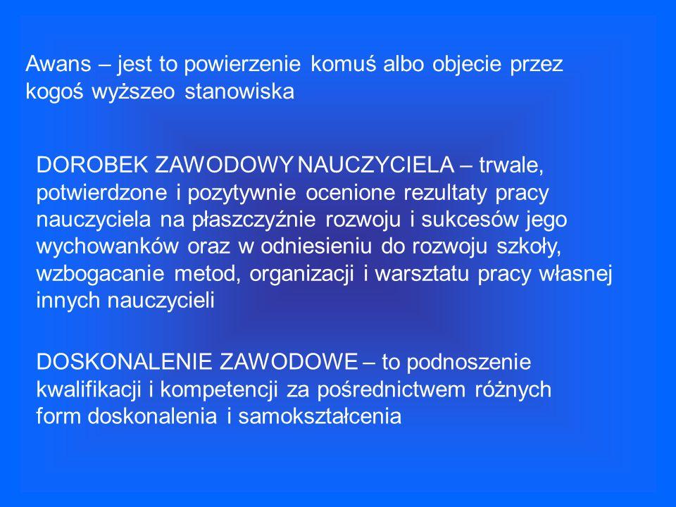 STOPNIE AWANSU ZAWODOWEGO 1.NAUCZYCIEL STAŻYSTA (9mc) 2.