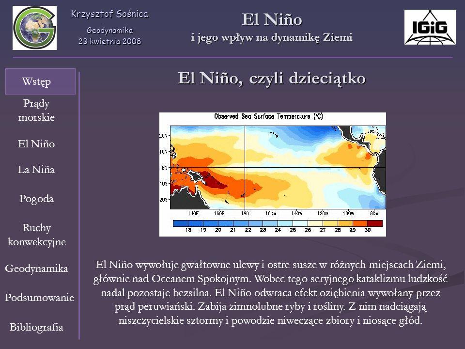 Krzysztof Sośnica Geodynamika 23 kwietnia 2008 Wstęp Prądy morskie El Niño La Niña Pogoda Geodynamika Ruchy konwekcyjne Bibliografia Podsumowanie El N