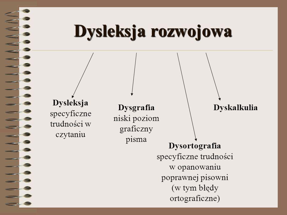 Dysleksja rozwojowa Dysleksja specyficzne trudności w czytaniu Dysgrafia niski poziom graficzny pisma Dysortografia specyficzne trudności w opanowaniu