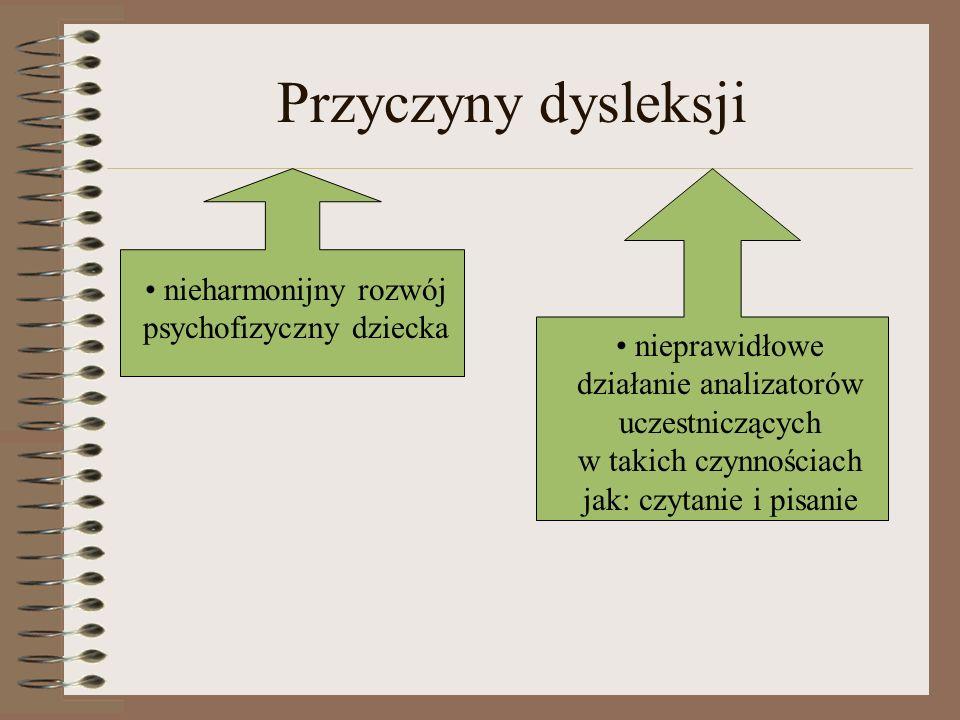 Przyczyny dysleksji nieharmonijny rozwój psychofizyczny dziecka nieprawidłowe działanie analizatorów uczestniczących w takich czynnościach jak: czytan