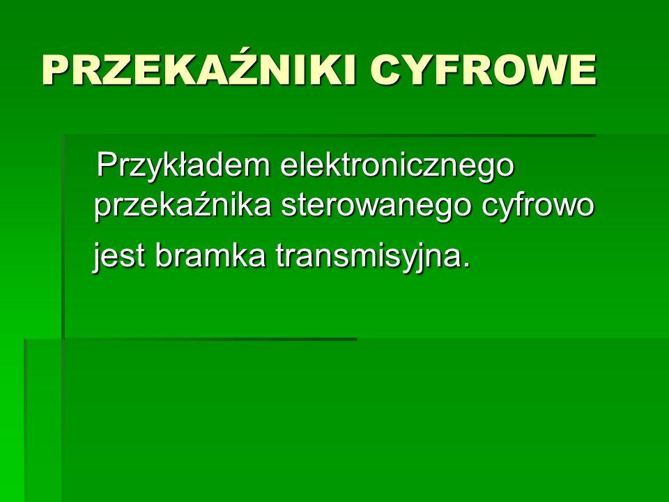 PRZEKAŹNIKI CYFROWE Przykładem elektronicznego przekaźnika sterowanego cyfrowo jest bramka transmisyjna. Przykładem elektronicznego przekaźnika sterow
