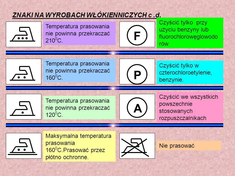 Nie prasować Temperatura prasowania nie powinna przekraczać 210 0 C. Temperatura prasowania nie powinna przekraczać 160 0 C. Temperatura prasowania ni