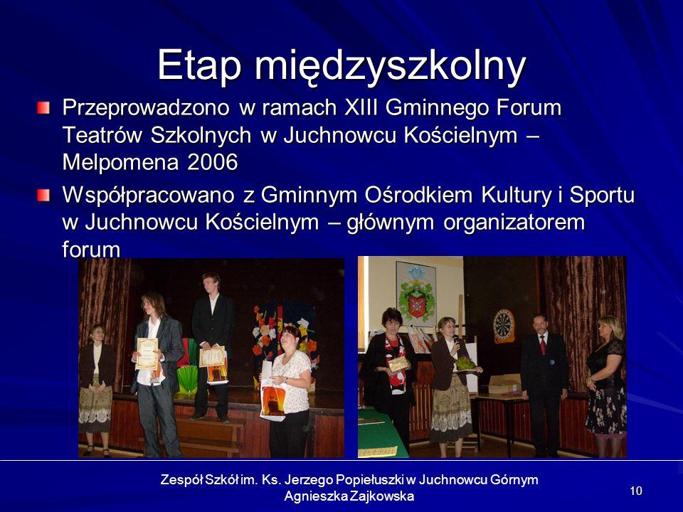 10 Etap międzyszkolny Przeprowadzono w ramach XIII Gminnego Forum Teatrów Szkolnych w Juchnowcu Kościelnym – Melpomena 2006 Współpracowano z Gminnym O