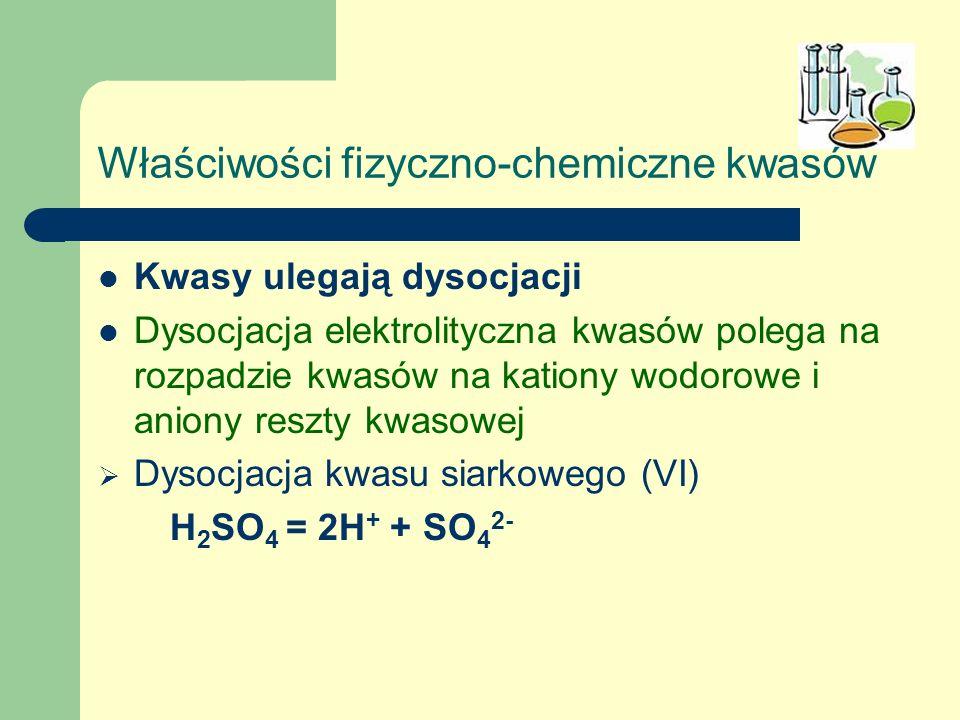 Właściwości fizyczno-chemiczne kwasów Kwasy ulegają dysocjacji Dysocjacja elektrolityczna kwasów polega na rozpadzie kwasów na kationy wodorowe i anio
