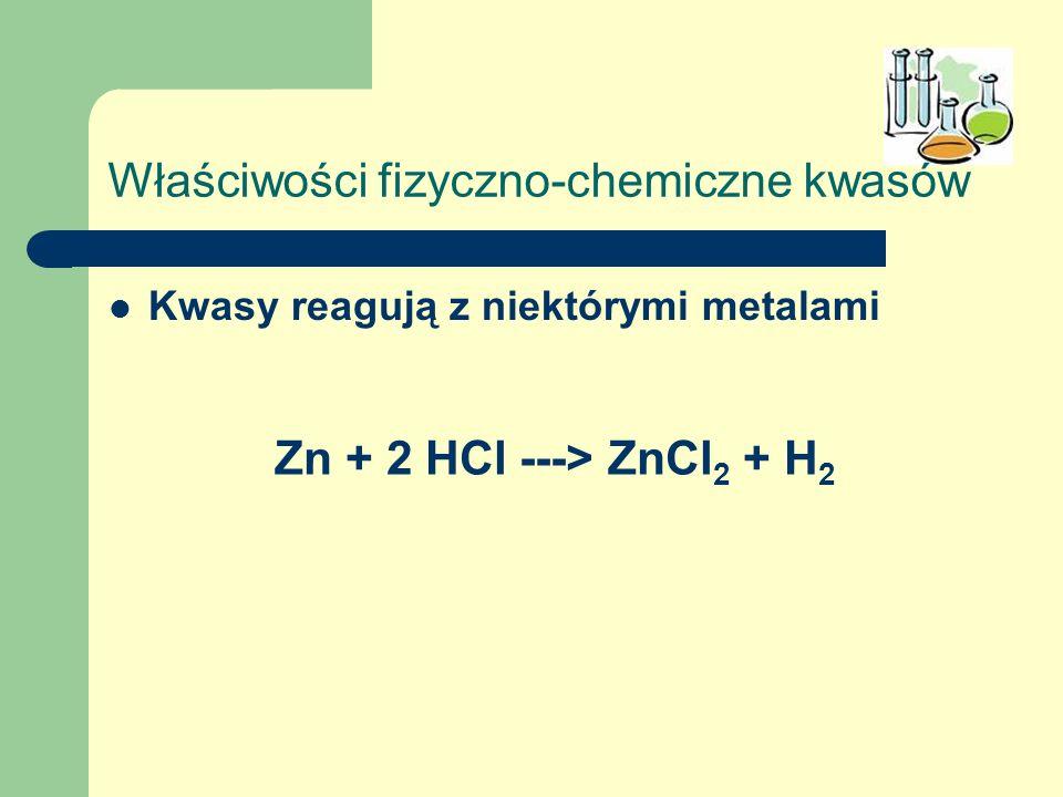 Właściwości fizyczno-chemiczne kwasów Kwasy reagują z niektórymi metalami Zn + 2 HCl ---> ZnCl 2 + H 2