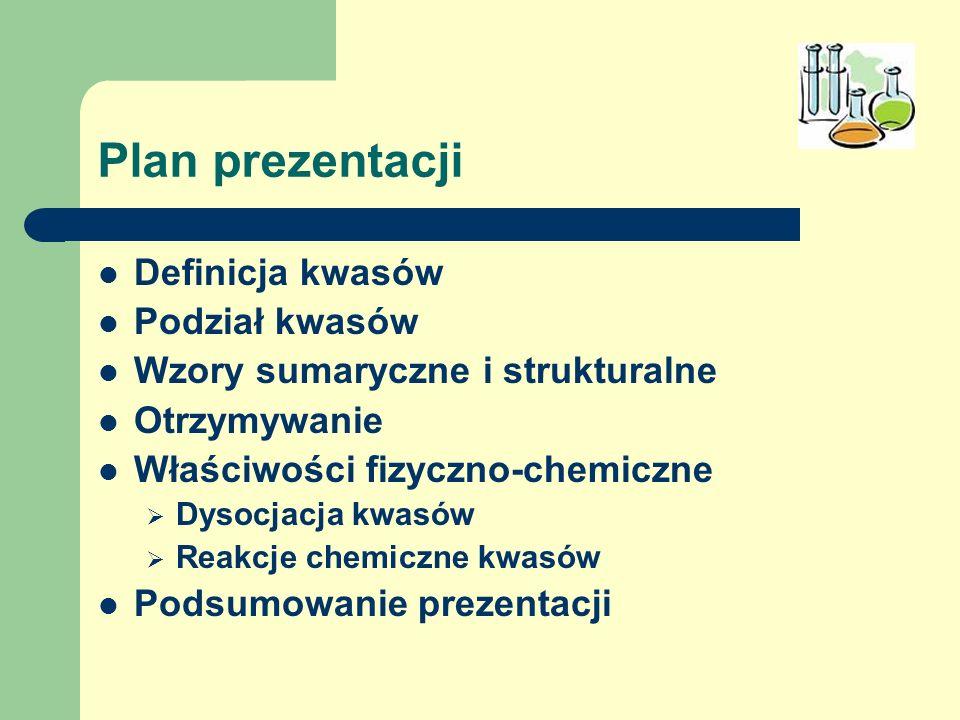 Plan prezentacji Definicja kwasów Podział kwasów Wzory sumaryczne i strukturalne Otrzymywanie Właściwości fizyczno-chemiczne Dysocjacja kwasów Reakcje
