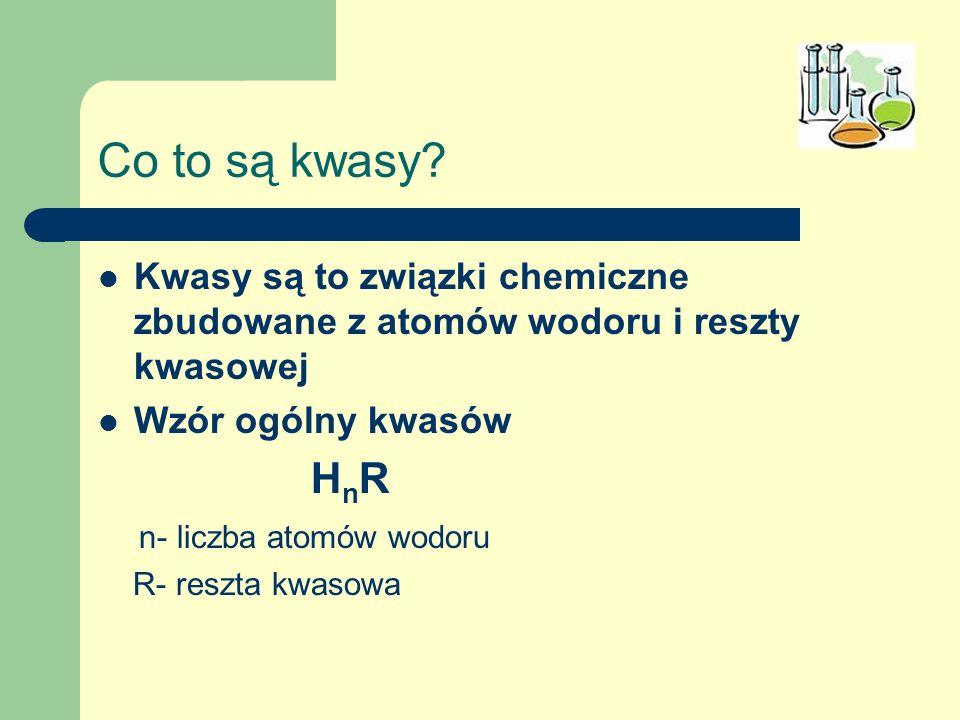 Co to są kwasy? Kwasy są to związki chemiczne zbudowane z atomów wodoru i reszty kwasowej Wzór ogólny kwasów H n R n- liczba atomów wodoru R- reszta k