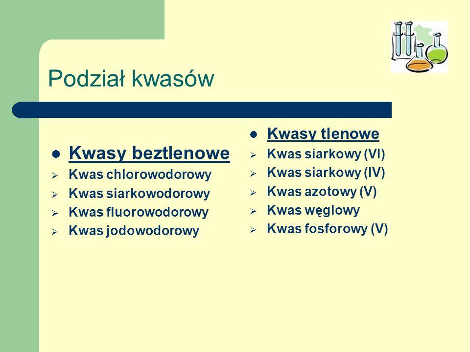 Podział kwasów Kwasy beztlenowe Kwas chlorowodorowy Kwas siarkowodorowy Kwas fluorowodorowy Kwas jodowodorowy Kwasy tlenowe Kwas siarkowy (VI) Kwas si