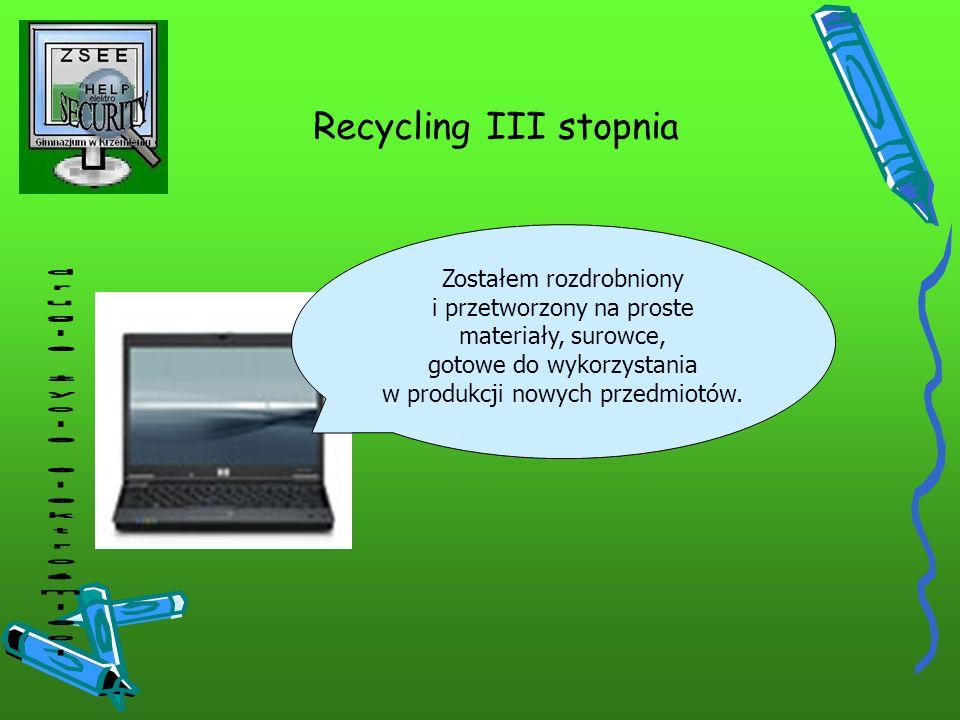 Recycling III stopnia Zostałem rozdrobniony i przetworzony na proste materiały, surowce, gotowe do wykorzystania w produkcji nowych przedmiotów.