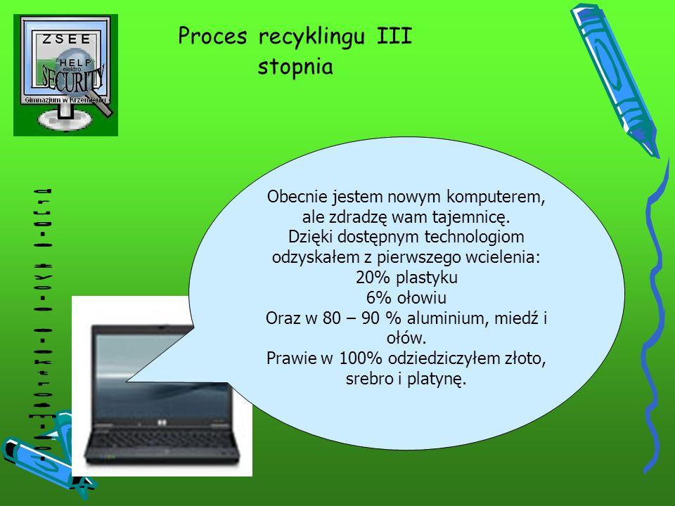 Proces recyklingu III stopnia Obecnie jestem nowym komputerem, ale zdradzę wam tajemnicę. Dzięki dostępnym technologiom odzyskałem z pierwszego wciele