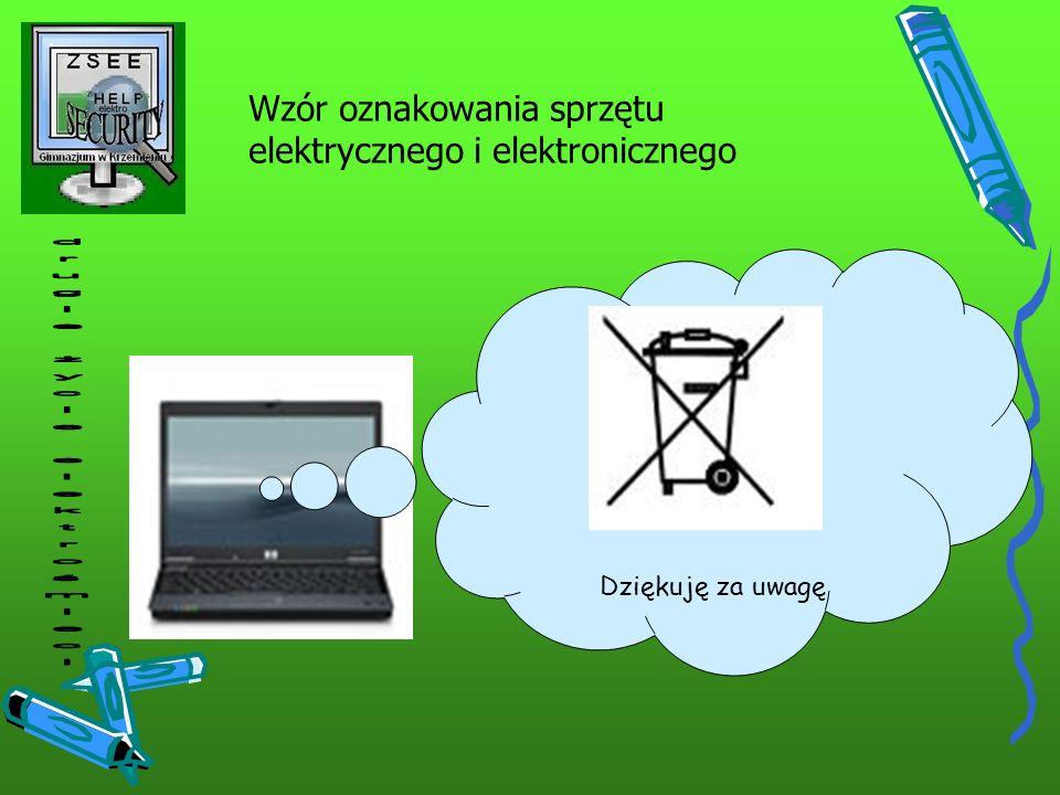 Wzór oznakowania sprzętu elektrycznego i elektronicznego Dziękuję za uwagę
