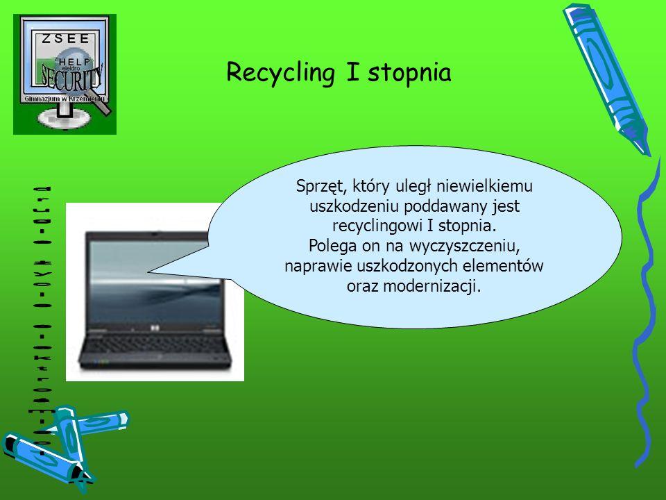 Recycling I stopnia Sprzęt, który uległ niewielkiemu uszkodzeniu poddawany jest recyclingowi I stopnia. Polega on na wyczyszczeniu, naprawie uszkodzon