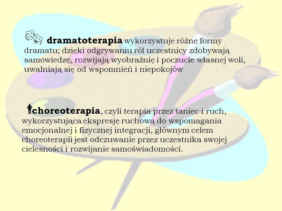 dramatoterapia wykorzystuje różne formy dramatu; dzięki odgrywaniu ról uczestnicy zdobywają samowiedzę, rozwijają wyobraźnię i poczucie własnej woli,