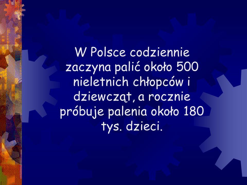 W Polsce codziennie zaczyna palić około 500 nieletnich chłopców i dziewcząt, a rocznie próbuje palenia około 180 tys. dzieci.