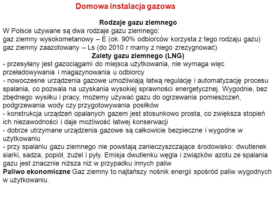 Domowa instalacja gazowa Rodzaje gazu ziemnego W Polsce używane są dwa rodzaje gazu ziemnego: gaz ziemny wysokometanowy – E (ok. 90% odbiorców korzyst