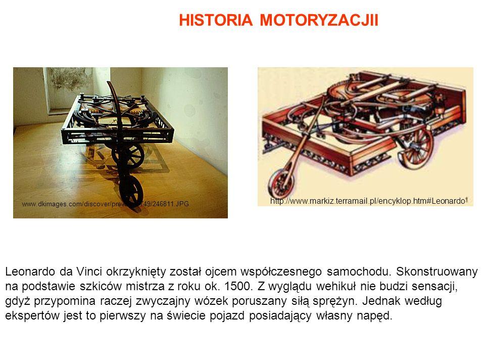 www.dkimages.com/discover/previews/749/246811.JPG HISTORIA MOTORYZACJII Leonardo da Vinci okrzyknięty został ojcem współczesnego samochodu. Skonstruow