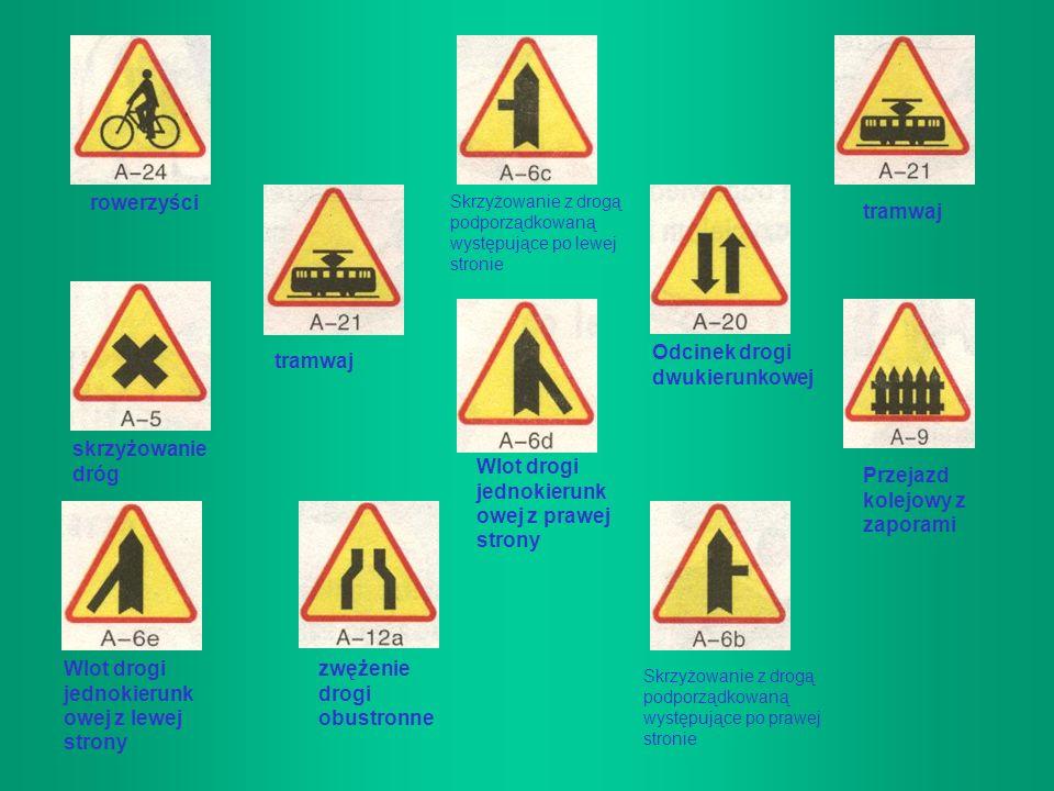 ZNAKI DROGOWE PIONOWE- ostrzegawcze Niebezpieczny zakręt w prawo Niebezpieczny zakręt w lewo Dwa niebezpieczne zakręty Skrzyżowanie z drogą podporządk