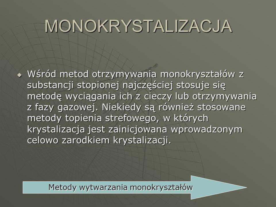 MONOKRYSTALIZACJA Wśród metod otrzymywania monokryształów z substancji stopionej najczęściej stosuje się metodę wyciągania ich z cieczy lub otrzymywan